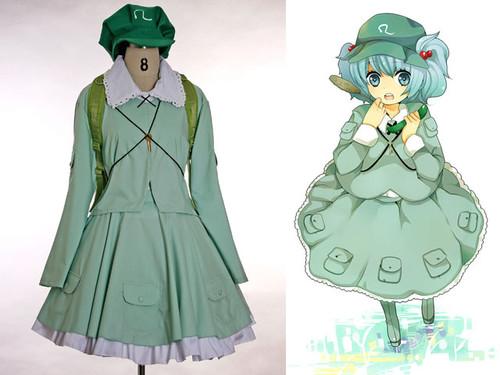 Touhou Project Cosplay,Backpack Cucumber Kawashiro Nitori Outfit