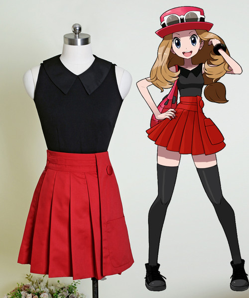 Pokémon Cosplay Serena Costume Blouse & Skirt