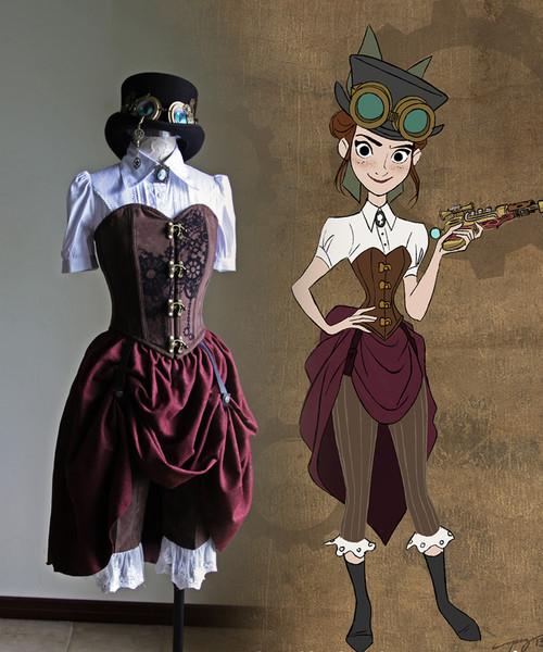 Disney Hullabaloo Cosplay, Veronica Daring Steampunk Costume Set