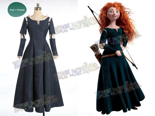 Special Offer: Brave (Disney film) Cosplay Princess Merida Costume Outfit*Kid Size in Deep Blue Instant Shipping