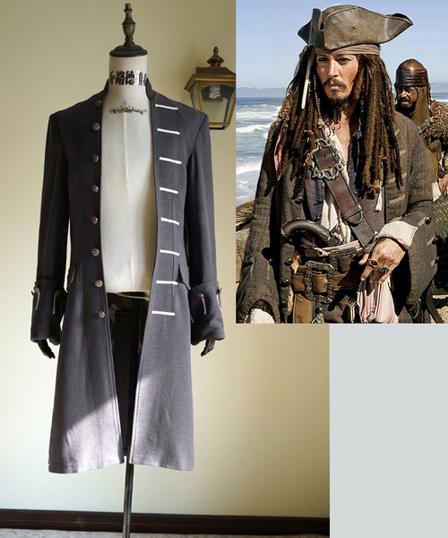 Pirates of the Caribbean (Movie) Cosplay, Captain Jack Sparrow Trench Coat Costume