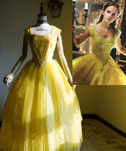 Beauty and the Beast 2017 Movie Cosplay, Belle Yellow Ball Dress Costume Set