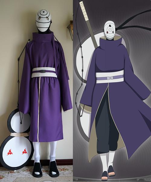 Naruto Cosplay, Akatsuki Ninja Tobi Obito Madara Uchiha Costume Full Set