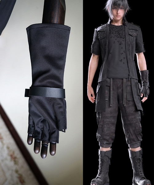 Final Fantasy XV / FF15 (Game) Cosplay, Noctis Lucis Caelum Left Hand Half Finger Glove