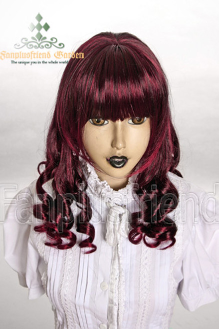 Last Chance: Sweet Lolia:Hime Cut Neat Vertical Curls Long Wig*Wine Red