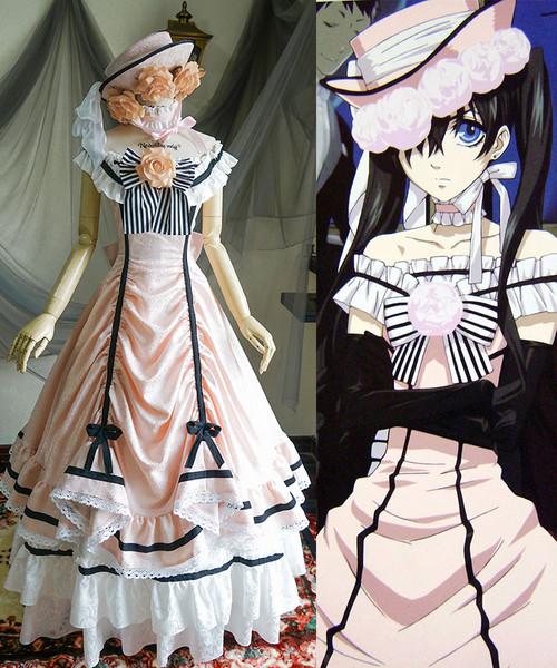Black Butler / Kuroshitsuji Cosplay, Ciel Phantomhive Dance Ball Dress Maxi Skirt Costume Set* Pink Jacquard Ver.
