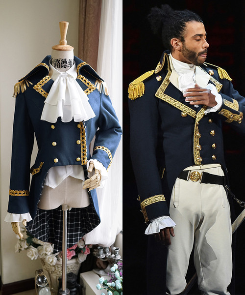 Musical Hamilton Cosplay, Marquis de Lafayette Gothic Aristocrat Military Tuxedo Wool Jacket Costume