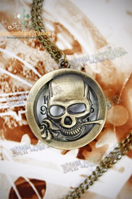 Industrial Gothic for Man Pierced Skull Pattern Pocket Watch Necklace
