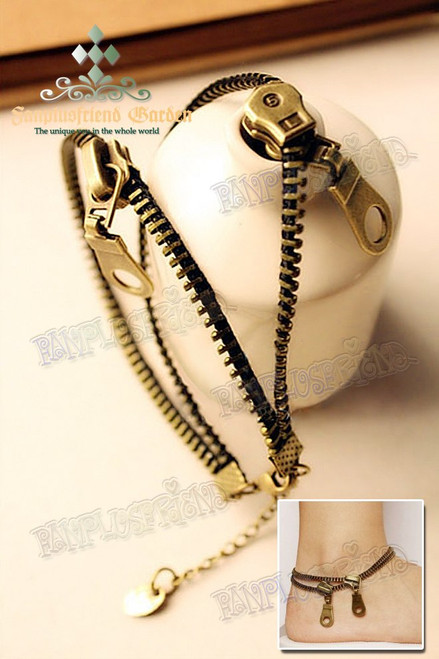 Gothic Punk Antique Bronze Zipper Anklet