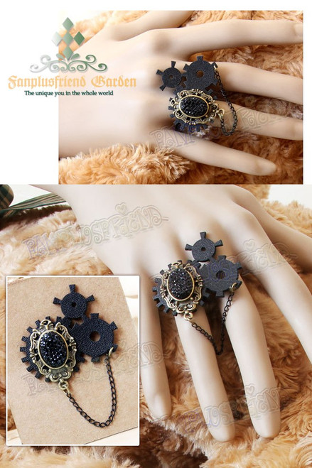 Steampunk Gothic Black Crystal & Gear Wheel Ring
