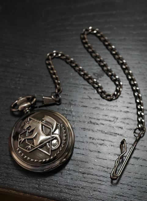 Gothic Steampunk Antique Black Real Pocket Watch (Fullmetal Alchemist)