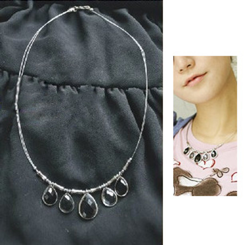Gothic Black Jewel Pendants Double Strings Necklace