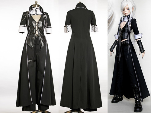 Elegant Gothic for Man: Doll Cosplay Costume, Coat 3pcs Suit