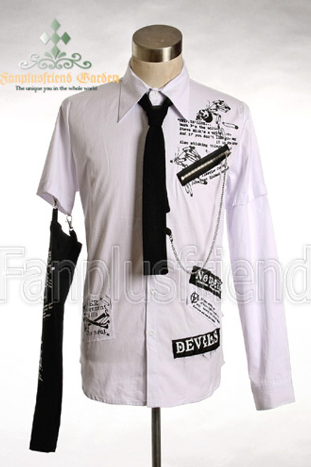 LAST CHANCE: Gothic Punk Detachable Long Sleeves White Shirt with Prints and Black Tie*Instant Shipping