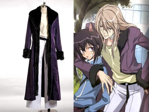 Loveless (Kouga Yun) Cosplay, Soubi Costume, Purple Goth Fur Coat