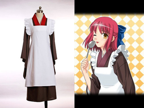 TYPE-MOON Hsukihime Cosplay, Kohaku Kimono Maid Outfit