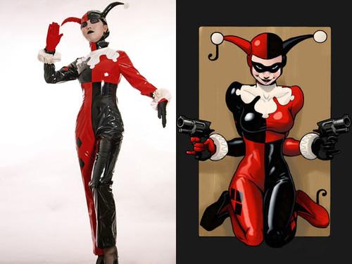 Batman Cosplay, Harley Quinn Jester PVC Costume Set Gotham Girls DC Comics