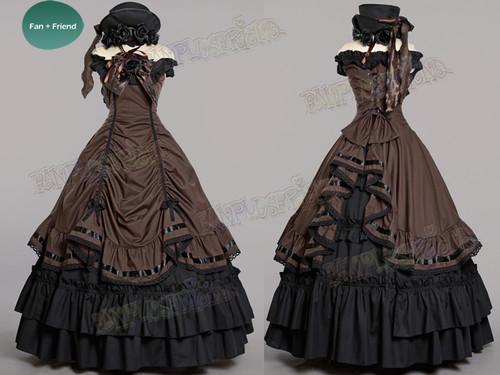 Black Butler / Kuroshitsuji Cosplay, Ciel Phantomhive Dance Ball Dress Maxi Skirt Costume Set* Burgundy, Black, Brown, Lilac