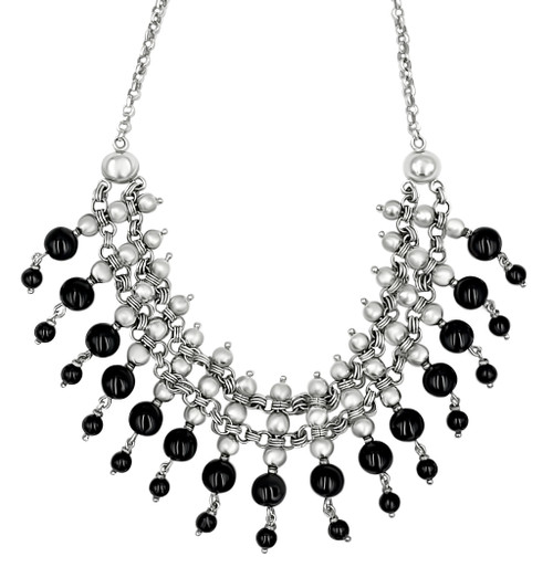 Silver and Black Onyx Hanging Beaded Necklace and Earrings Set