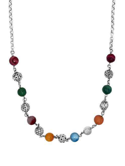 Multi-Color Agatas Stone Necklace and Earrings Set