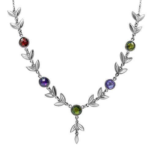 Circones De Colores with Silver Leaves Necklace, Bracelet, and Earrings Set
