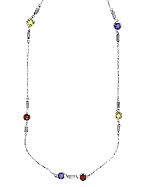 Silver Barrel Beads with Circones De Colores Necklace with Earrings Set