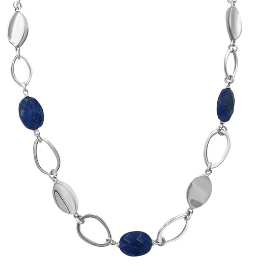 Blue Lapis Lazuli and Silver Oval Necklace and Earrings Set