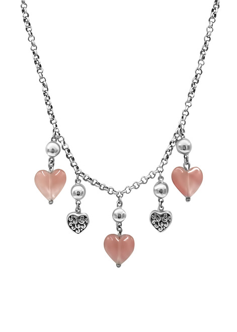 Rose Quartz and Silver Heart Necklace and Earring Set