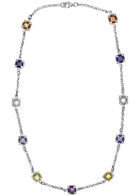 Fine Silver Chain and Circones De Colores Necklace and Earrings Set