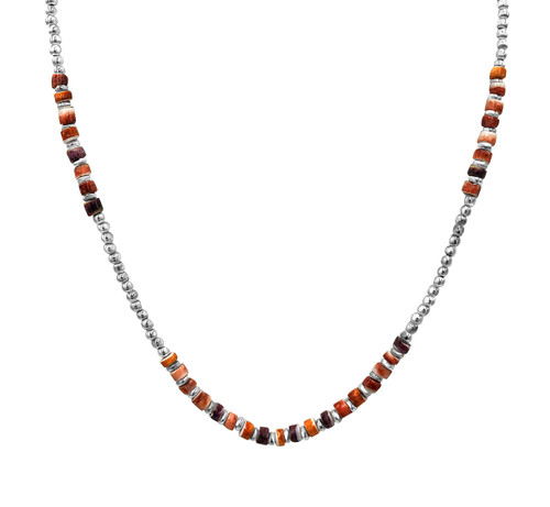 Beaded Silver with Orange Spondylus Necklace, Bracelet and Earrings Set