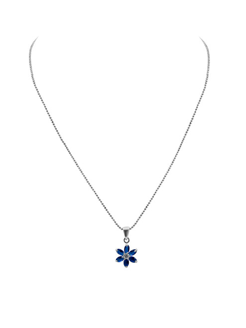 Silver with Blue Circones Lily Pendant Necklace and Earrings Set