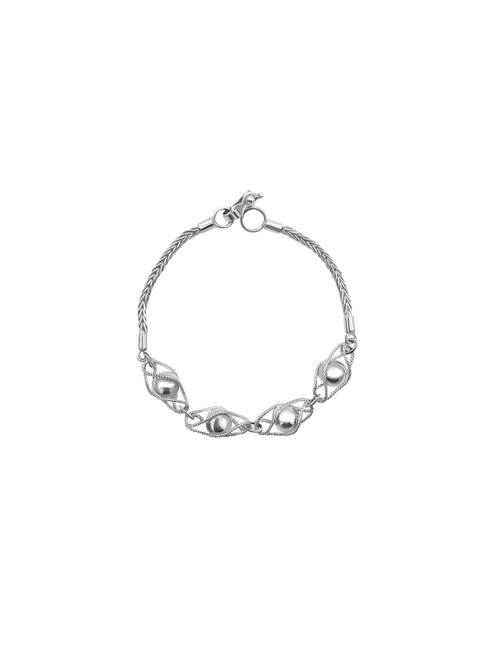 4 Silver Beads Encased Bracelet
