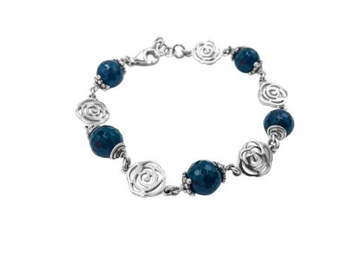 Onyx and Silver Rose Bracelet