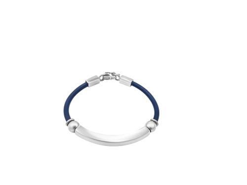 Black Leather and Silver Bangle Bracelet
