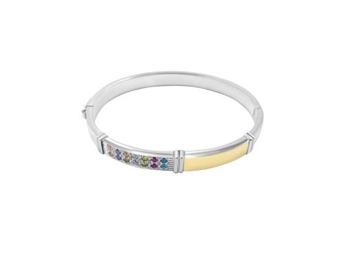 Silver Hinged Bangle Bracelet with Circones De Colores