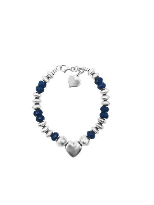 Silver Heart and Onyx Bead Bracelet