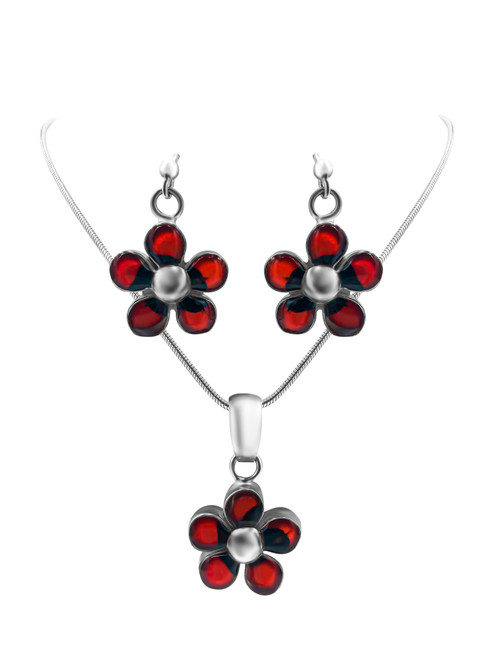Silver Daisy and Huayruro Seed Earrings and Pendant