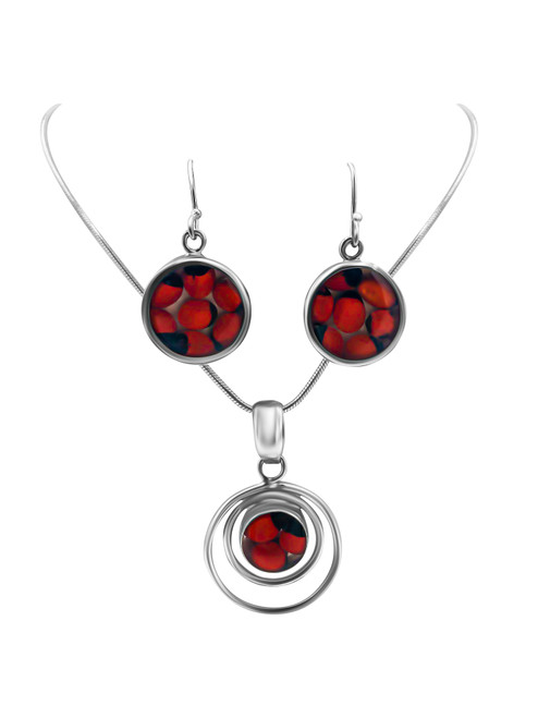 Silver Circle Earrings with Huayruro Seed and Double Hoop Pendant