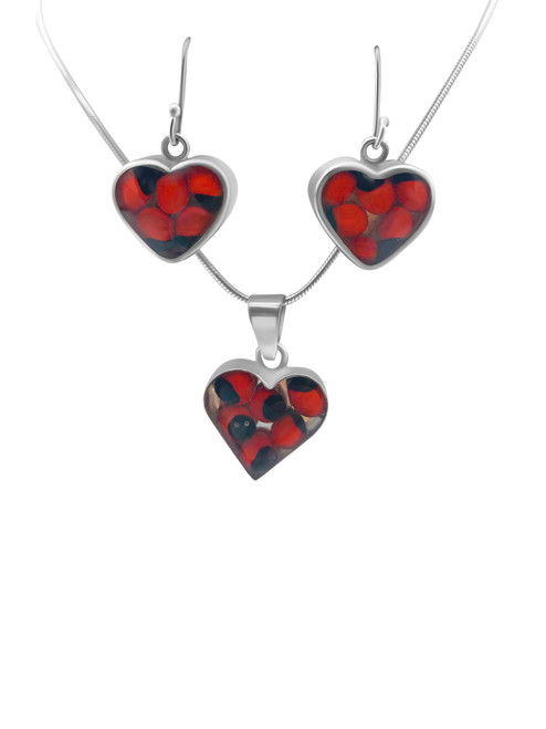 Silver Heart Earrings with Huayruro Seed and Matching Pendant