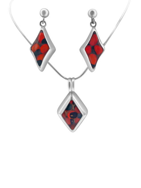 Silver Diamond-Shaped Earrings with Huayruro Seed and Matching Pendant