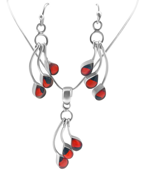 Silver Waterfall Earrings with Huayruro Seed and Matching Pendant