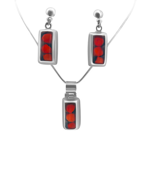 Silver Rectangle Earrings with Huayruro Seed and Matching Pendant