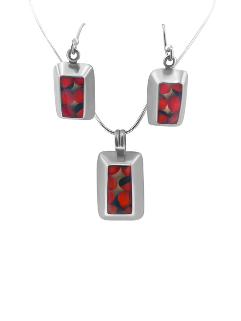 Silver Tapered Rectangular Earring with Huayruro Seed and Matching Pendant