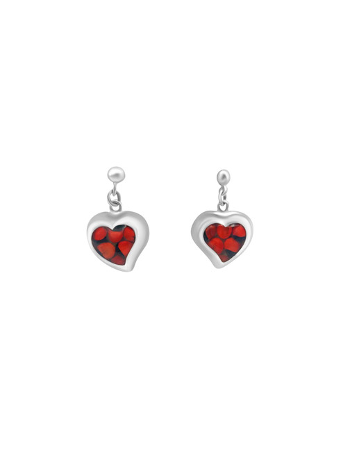 Large Silver Heart Earrings with Huayruro Seed and Matching Pendant