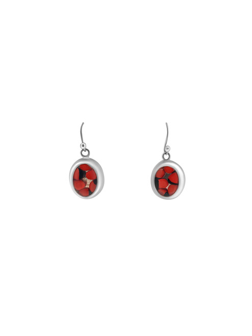 Silver Oval Earrings with Huayruro Seed and Matching Pendant