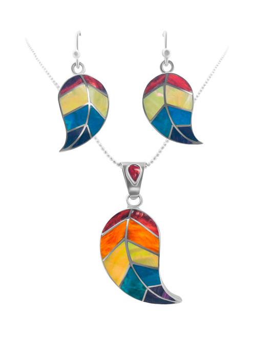 Silver Leaf Earrings filled with Turquesa Peruana, Nacre, Lapiz Lazuli and Spondylus Naranja