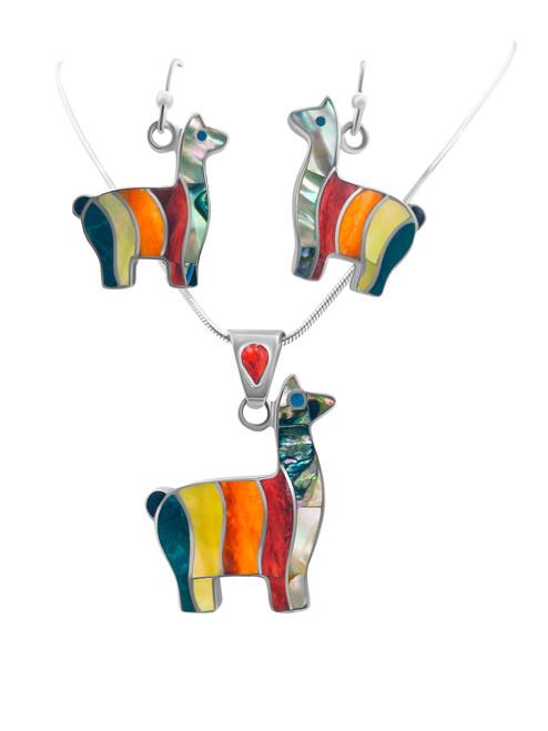 Silver Llama Earrings filled with Turquesa Peruana, Nacre, Lapis Lazuli and Spondylus Naranja and Matching Pendant