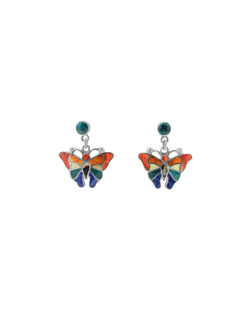 Silver Butterfly Earrings filled with Turquesa Peruana, Nacre, Lapis Lazuli and Spondylus Naranja