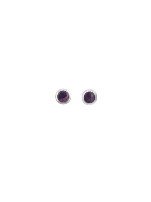 Purple Spondylus Stud Earrings and Matching Pendant