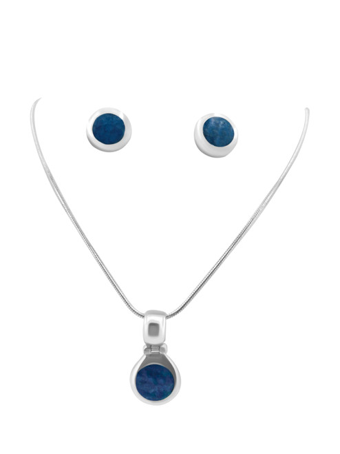 Blue Spondylus Stud Earrings and Matching Pendant